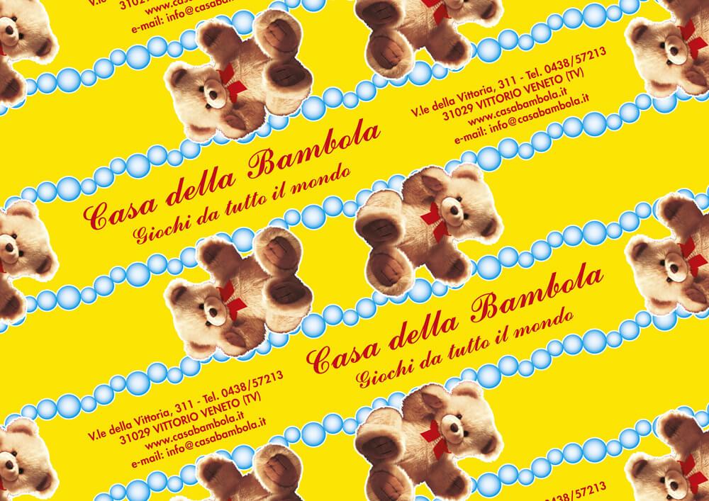 carta monopatinata personalizzata con logo CASA DELLA BAMBOLA