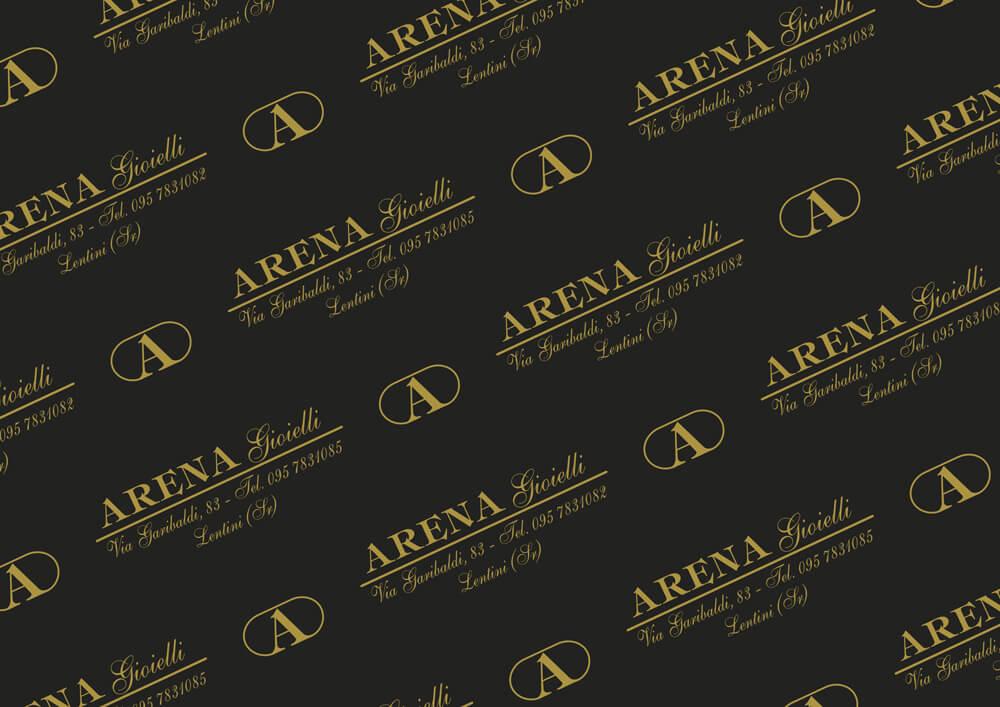 carta metallizzata per imballaggio prodotti personalizzata con logo Arena